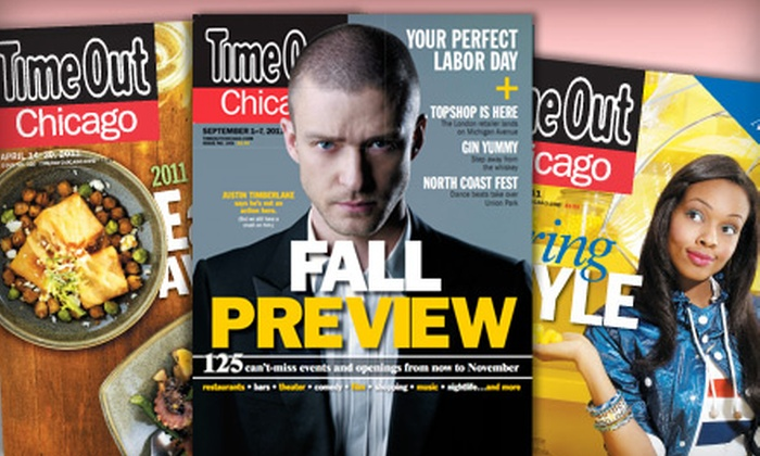 """Time Out Chicago"" - Calumet City: $8 for a One-Year Subscription to ""Time Out Chicago"" ($19.99 Value)"