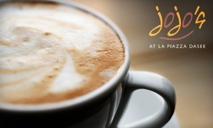 JoJo's Cafe at La Piazza Dasee - CPR West: $10 for Five Espresso-Based Drinks at JoJo's Cafe at La Piazza Dasee (Up to $28.75 Value)