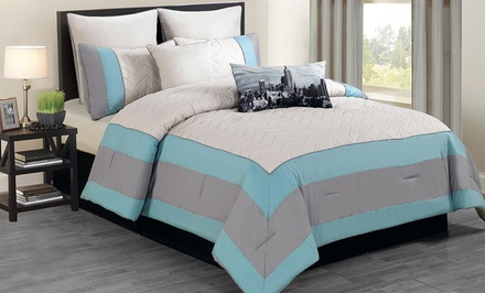 8-Piece Queen or King Quilted Oversized and Overfilled Comforter Set. Multiple Colors Available. Free Returns.