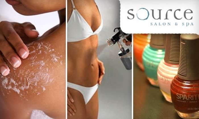 Source Salon & Spa - Adams: Mani-Pedi or a Body Treatment and Spray Tanning at Source Salon & Spa. Choose Between Two Options.