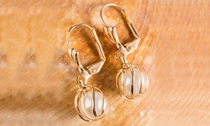 White Cultured Pearl Cage Drop Earrings by Sevil