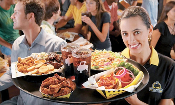 Buffalo Wild Wings  - Multiple Locations: $7 for $15 Worth of Wings, Burgers, Ribs, and Wraps at Buffalo Wild Wings. Eight Locations Available.