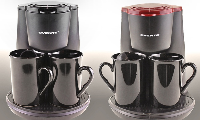 Ovente 2-Cup Coffee Maker with 2 Ceramic Coffee Cups: $19.99 for Ovente 2-Cup Coffee Maker with 2 Coffee Cups ($54.99 List Price). Multiple Colors. Free Shipping and Returns.