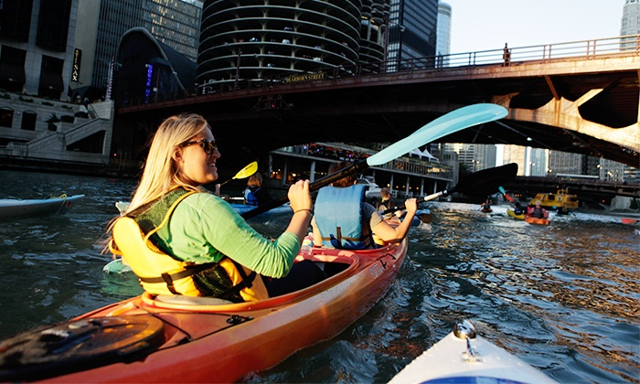 Wateriders Kayak Tours and Rentals - Riverwalk: Classic Architecture/Historical Kayak Tour or Shady Chicago Kayak Tour for Two or Four from Wateriders (50% Off)