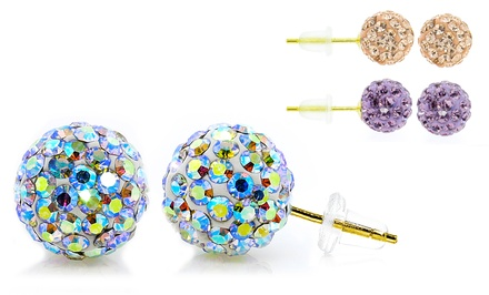 14K Gold Swarovski Elements Crystal Ball Stud Earrings - Pastel Collection