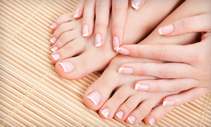 Alora Ambience Spa - Multiple Locations: Spa Mani and Quickie Pedi or Spa Mani with Paraffin Dip and Hydro Pedi at Alora Ambience Spa (Up to 58% Off)