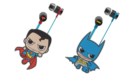 Batman and Superman Flat Cord Earphones with Built-In Mic