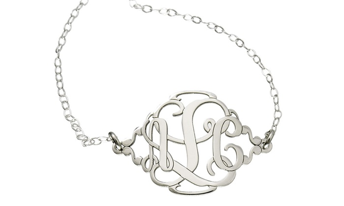 AJ's Collection: One Monogram Charm Anklet, Necklace, Bracelet, or Pair of Earrings from AJ's Collection (Up to 57% Off)
