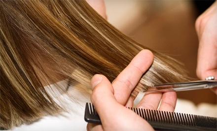 Haircut and Style with Optional Color or Partial Highlights at Vogue Salon & Permanent Makeup (Up to 58% Off)
