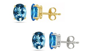 Genuine Blue Topaz Earrings in 14K Solid Gold (1- or 2-Pack)!
