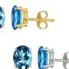 Genuine Blue Topaz Earrings in 14K Solid Gold (1- or 2-Pack)