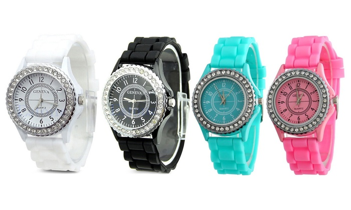 One or Two Geneva Silicone and Crystal Watches