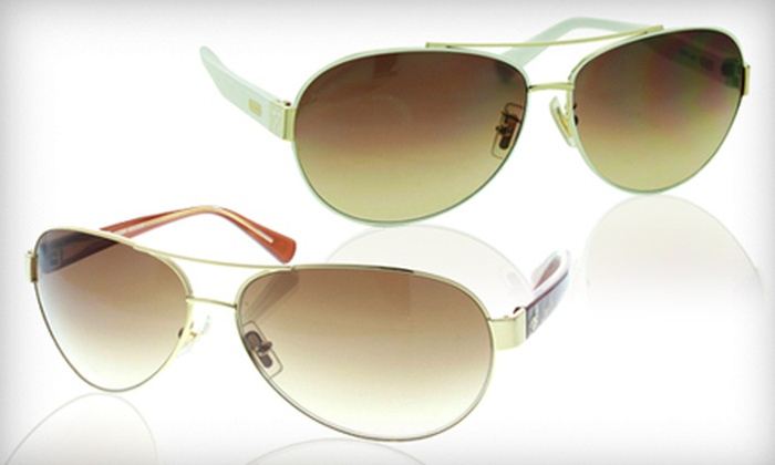 Women's Coach Aviator Sunglasses: Women's Coach Metal Aviator Sunglasses (Up to 82% Off). Multiple Styles and Colors Available.