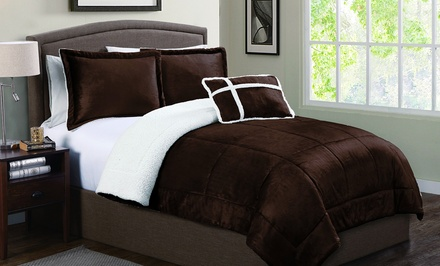 Micro Mink Reverse to Sherpa Comforter Set with Bonus Decorative Pillow