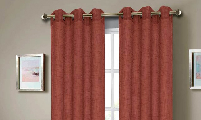 Set of Two Faux-Linen Window Panels with Grommets: Set of 2 Faux-Linen Window Panels with Grommets. Multiple Colors Available. Free Returns.