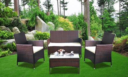 4 piece rattan furniture set groupon goods for Outdoor furniture groupon