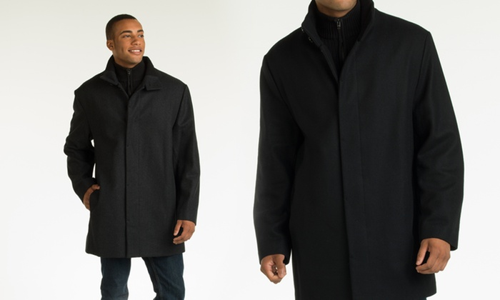 Perry Ellis Men's Wool-Blend Button-Front Car Coat | Groupon