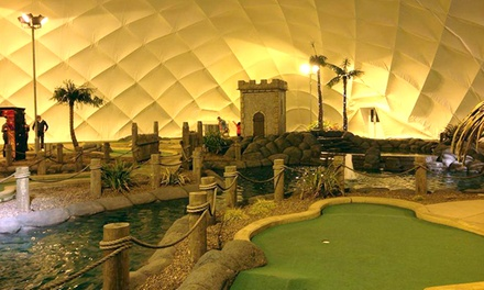 18 Holes of Adventure Golf with Hot Drink and a Winter Gloves for Two or family of four at Adventure Golf Island