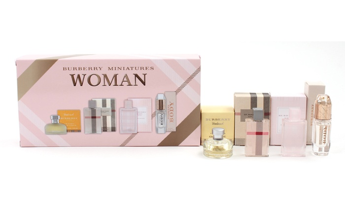 Burberry Women's Fragrance Coffret: Burberry Women's Coffret with Miniature Bottles of Weekend, London, Brit Sheer, and Body Fragrances.