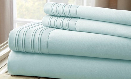 1,000TC Fine Linen Sheet Set with Pleated Hem