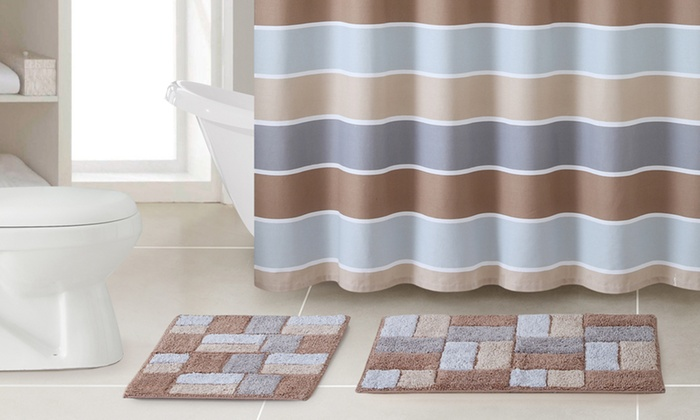 Shower curtain and rug set 3pc groupon goods