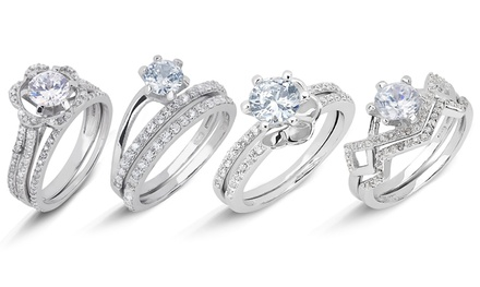 Sterling Silver 2-Piece Wedding-Ring Sets