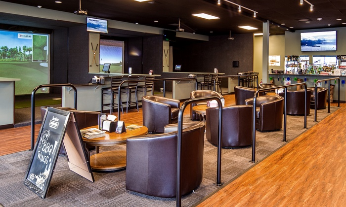 Clubhouse Golf Center - Robin's Villa: $30for One Hour of Virtual Golf with Two Beers or Well Drinks at Clubhouse Golf Center ($50 Value)