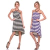 Women's Strapless Striped High-Low Dress