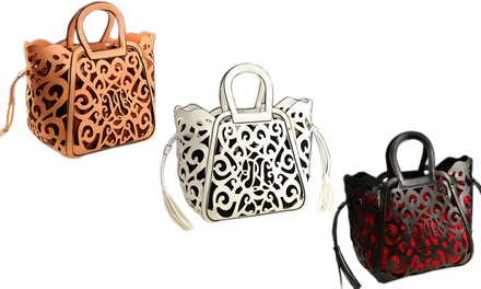Women's Leather Cutout Handbag