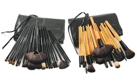 Makeup Brush 24-Piece Set with Vegan Leather Case