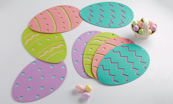 Set Of Four Easter Eggs Placemats Table Runner