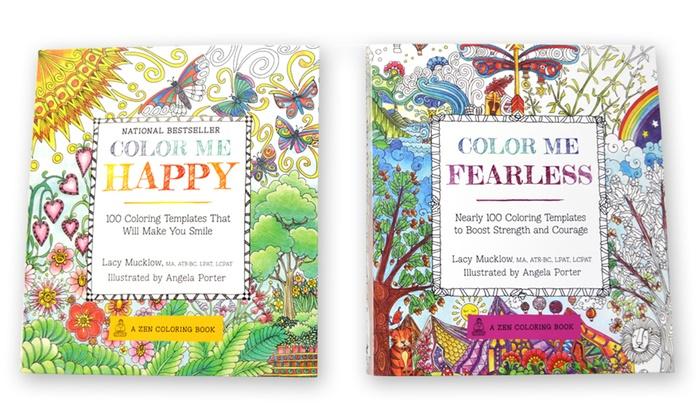 adult coloring book bundle 2 piece color me happy and color me - Adult Coloring Books 2