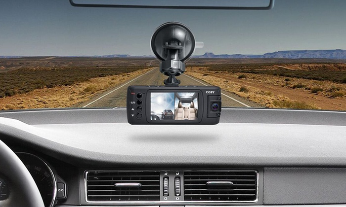 coby exterior and interior dual camera 1080p full hd dash cam groupon. Black Bedroom Furniture Sets. Home Design Ideas