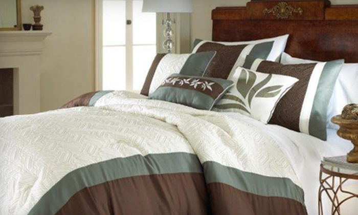 Seven-Piece Embellished Comforter Set: Colonial Home Textiles Seven-Piece Embellished Comforter Set (Up to 72% Off). Multiple Sizes and Styles Available.