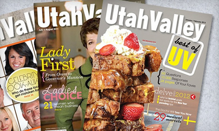"""Utah Valley Magazine"": $10 for a Three-Year Subscription to ""Utah Valley Magazine"" ($21 Value)"