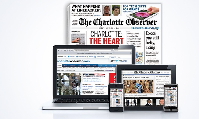 """<i>The Charlotte Observer</i> - First Ward: 13- or 26-Week Sunday Print Subscription with Digital Subscription to """"The Charlotte Observer"""" (Up to 56% Off)"""