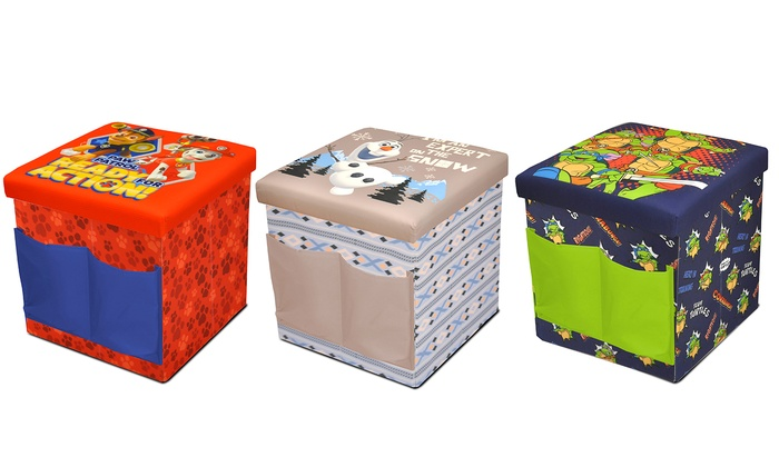 Kids 39 sit and store folding character ottomans groupon for Ottoman to sit on