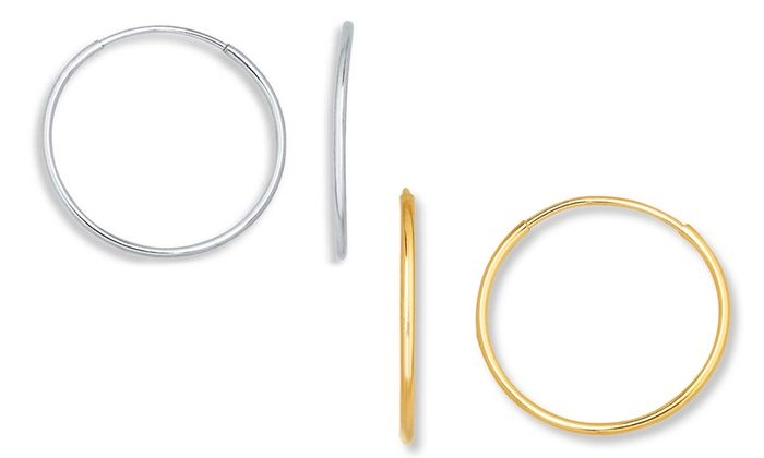 14k Solid Gold Or White Endless Hoop Earrings