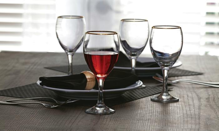 Gold Rim Drinkware Sets: Gold Rim Drinkware Sets (4-Piece)