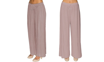 Pleated Flared Palazzo Trousers