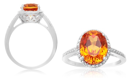 2.80 CTW Oval Padparadscha and Diamond Halo Ring