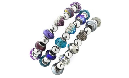 Purple, Blue, or Gray Crystal and Glass Bead Bracelet