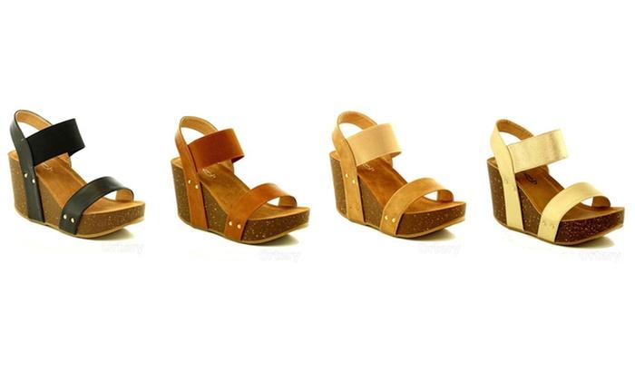 Mata Strappy Cork Platform Wedge Sandal (Sizes 6.5, 7, 7.5)