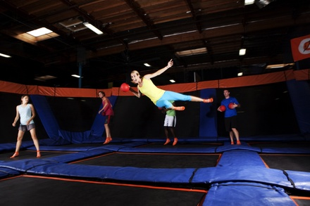 [Two 60-Minute Open Jumps or Admission to Saturday Night SkyJam at Sky Zone Danvers (Up to 41% Off) Image]