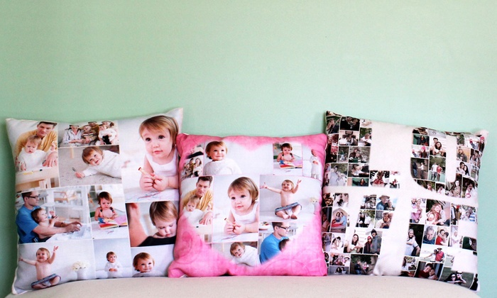 custom photo collage pillow collage com groupon