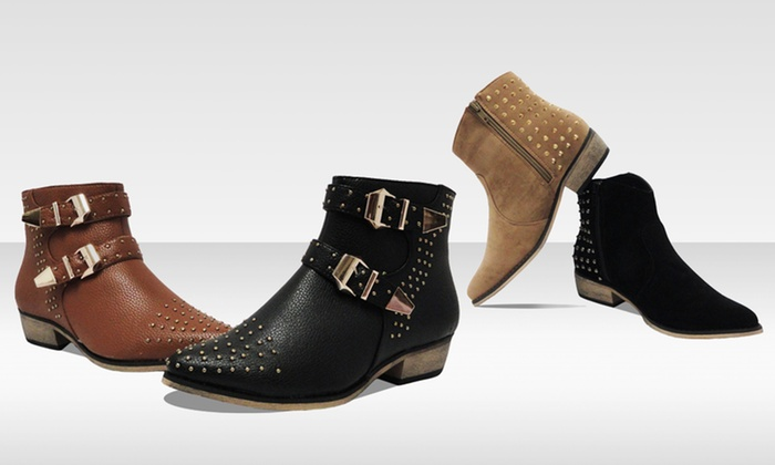 Bucco Studded Ankle Boots | Groupon
