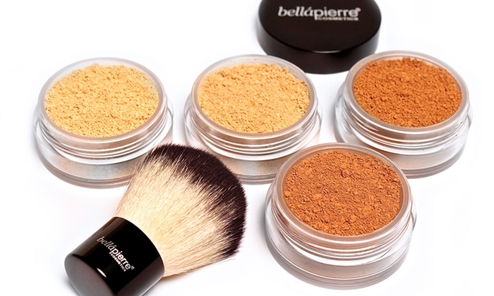 BelláPierre Cosmetics 5-in-1 Mineral Foundation and Kabuki Brush Set (4g Jar)