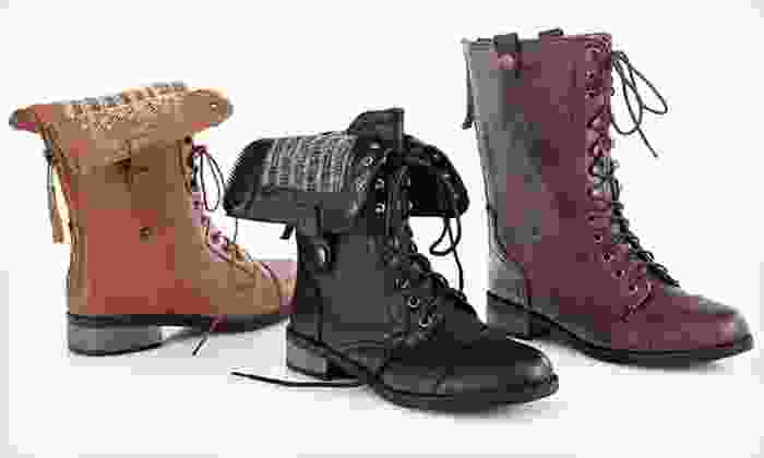 Carrini Women's Vegan Leather Boots: $29 for Carrini Women's Vegan Leather Combat Boots ($80 List Price). Three Colors Available. Free Shipping and Returns.