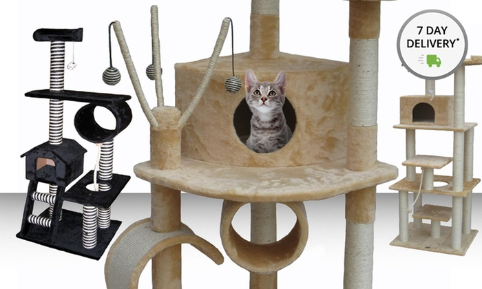 "Cat Tree Condos: 55"", 60"", or 76"" Cat Tree Condo  from $79.99–$99.99. Multiple Colors Available. Free Returns."