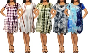 Women's Tie-Dye T-Shirt Dress with Side Pockets. Plus Sizes Available.